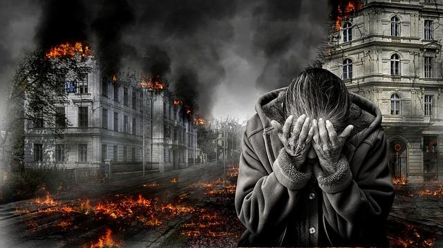 hořící domy